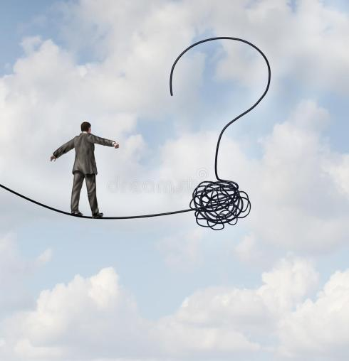 risk-uncertainty-planning-new-journey-as-businessman-walking-tight-rope-gets-tangled-shaped-as-question-35733716